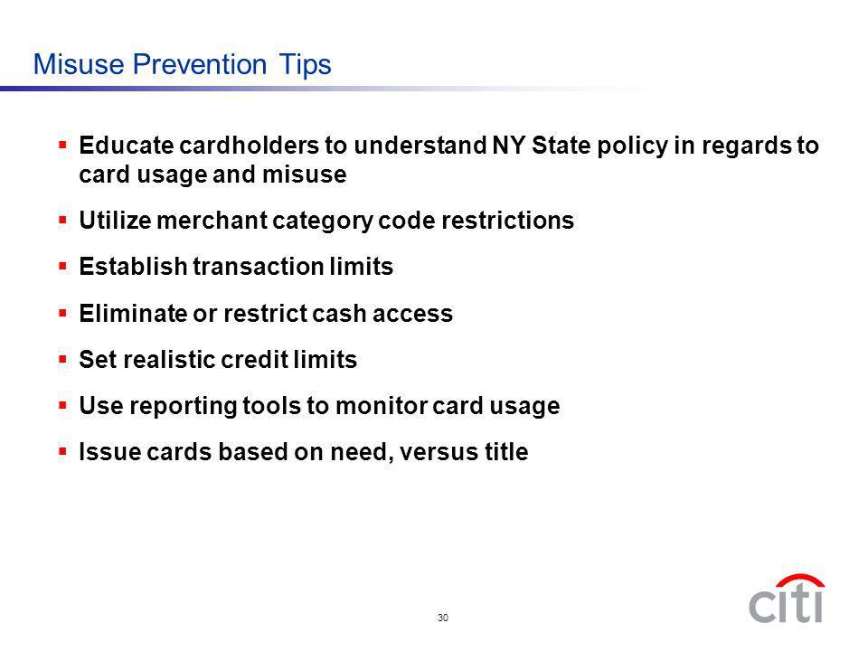 Misuse Prevention Tips