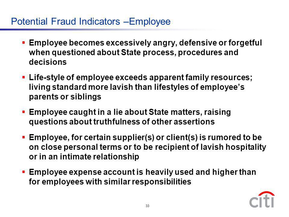 Potential Fraud Indicators –Employee