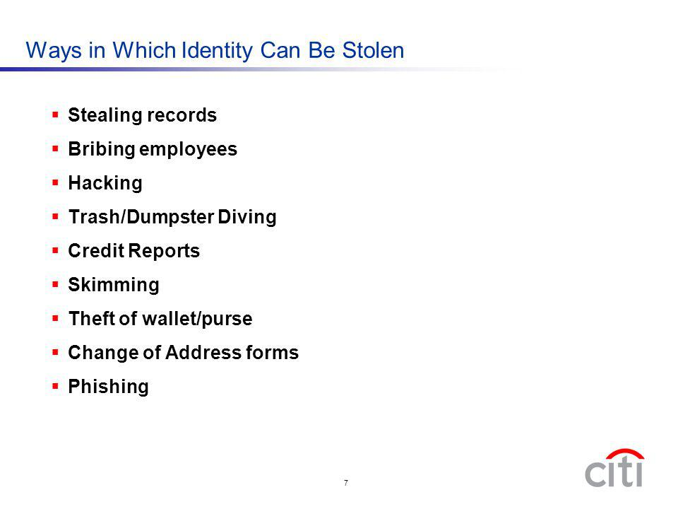 Ways in Which Identity Can Be Stolen