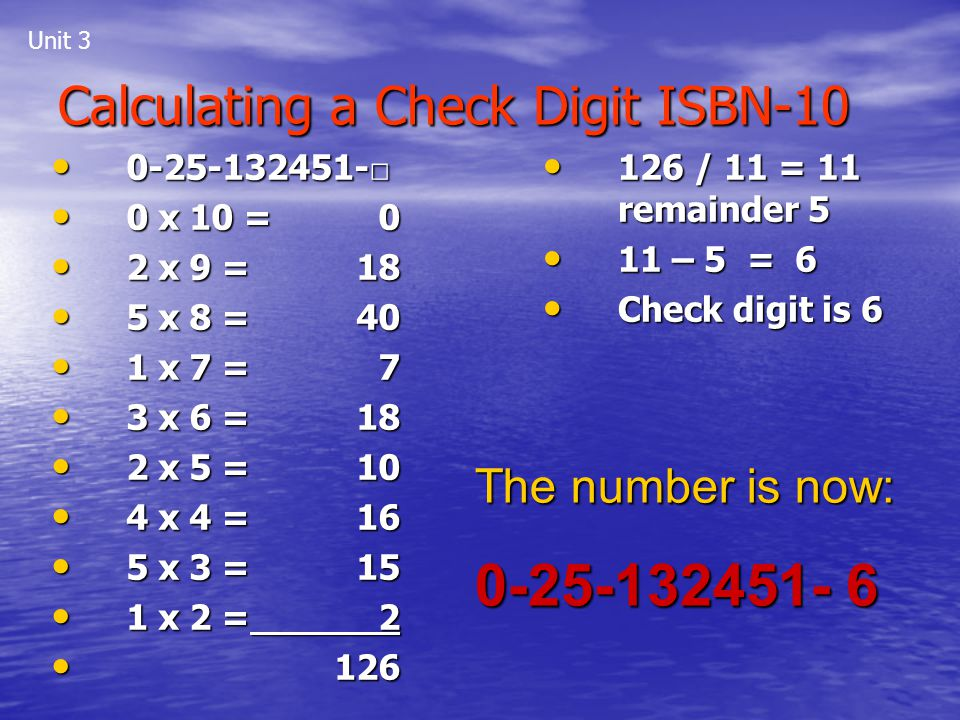 Calculating a Check Digit ISBN-10