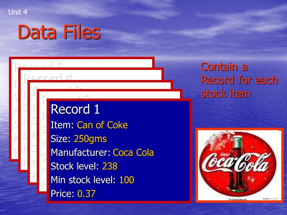 Data Files Record 5 Record 4 Record 3 Record 2 Record 1