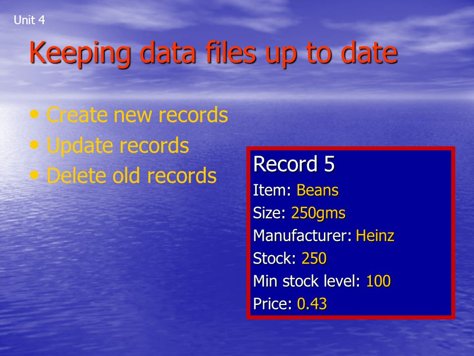 Keeping data files up to date