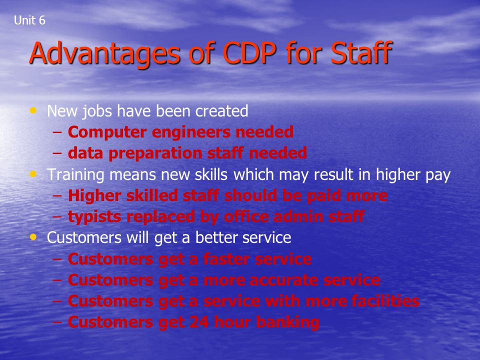 Advantages of CDP for Staff