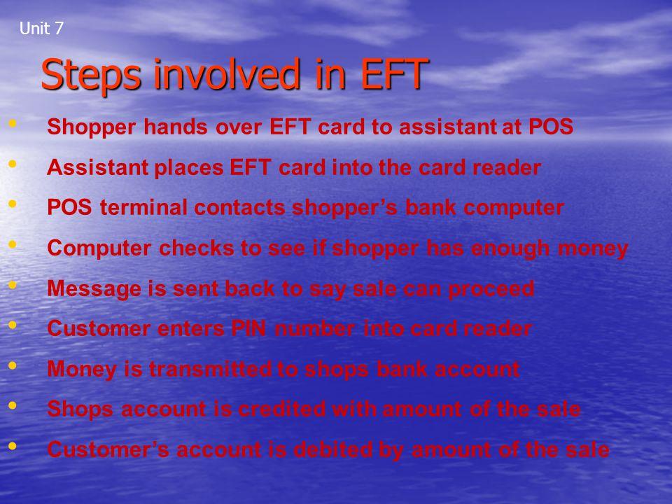 Steps involved in EFT Shopper hands over EFT card to assistant at POS