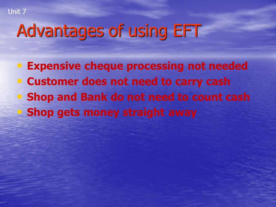 Advantages of using EFT