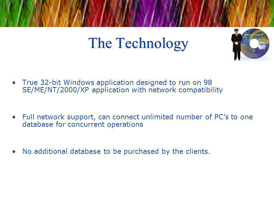 The Technology True 32-bit Windows application designed to run on 98 SE/ME/NT/2000/XP application with network compatibility.