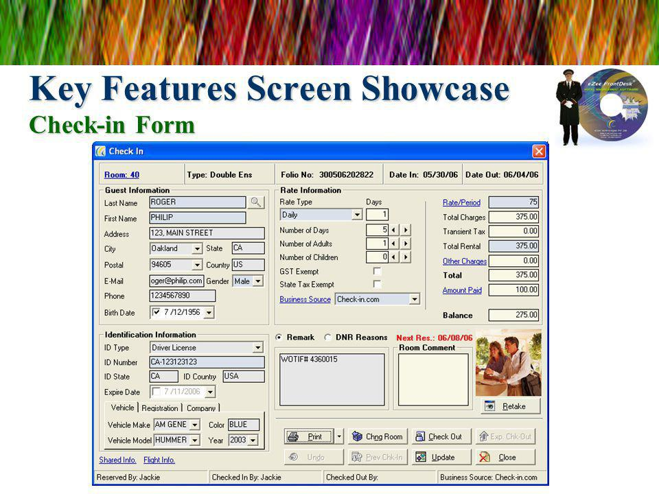 Key Features Screen Showcase Check-in Form