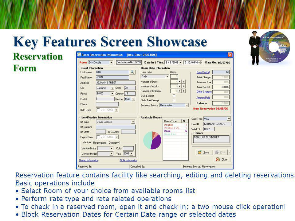Key Features Screen Showcase Reservation Form