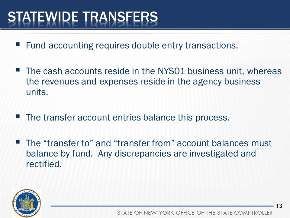 Statewide Transfers Fund accounting requires double entry transactions.
