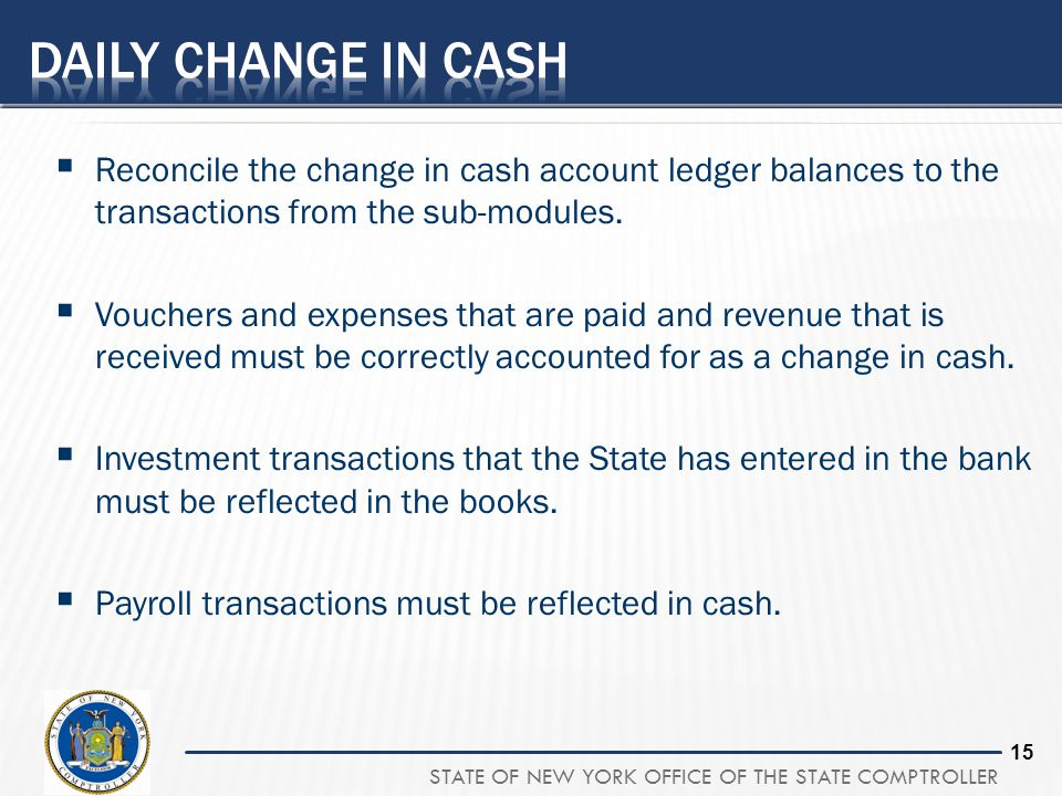 Daily Change in Cash Reconcile the change in cash account ledger balances to the transactions from the sub-modules.