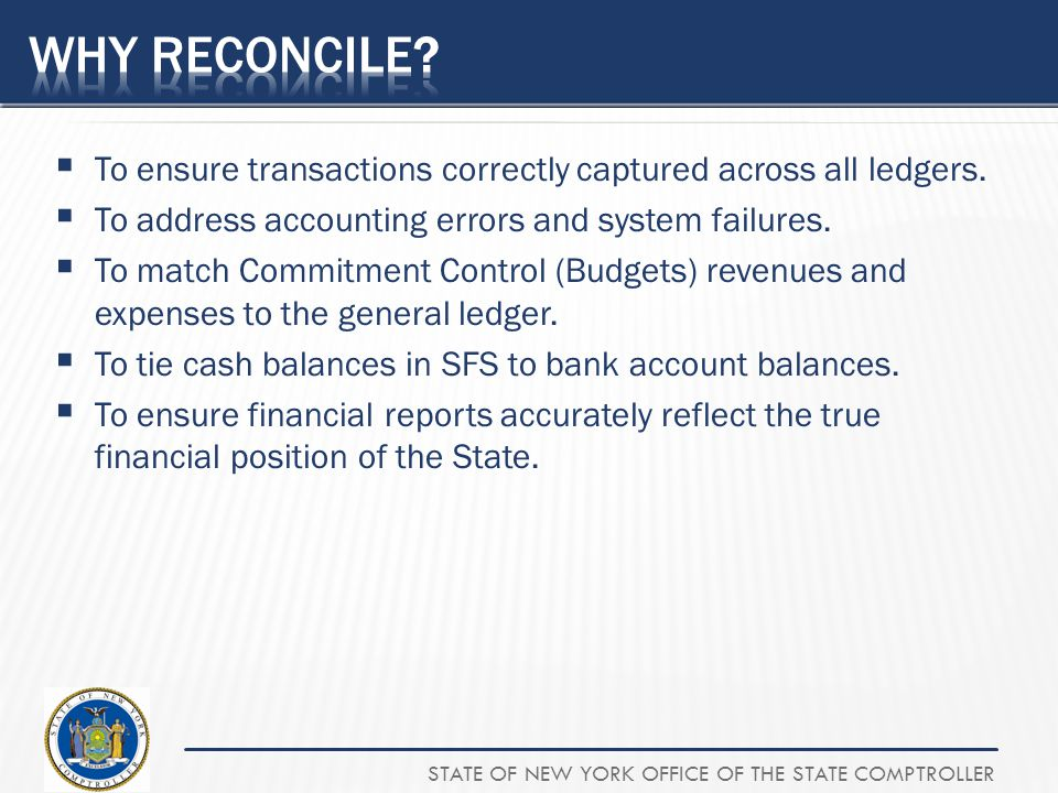 Why Reconcile To ensure transactions correctly captured across all ledgers. To address accounting errors and system failures.