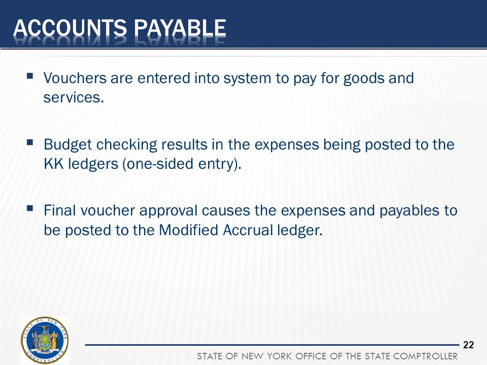 Accounts payable Vouchers are entered into system to pay for goods and services.
