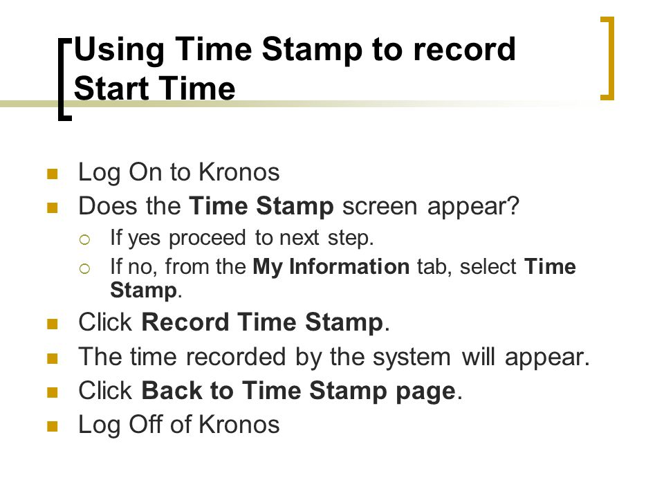 Using Time Stamp to record Start Time