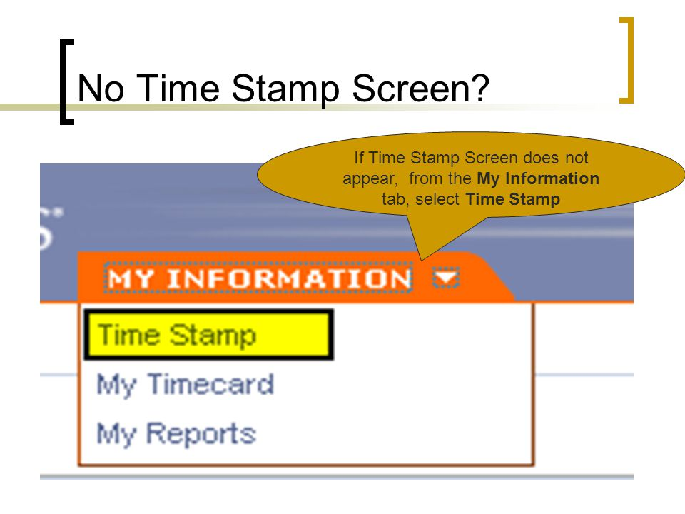 No Time Stamp Screen If Time Stamp Screen does not appear, from the My Information tab, select Time Stamp.