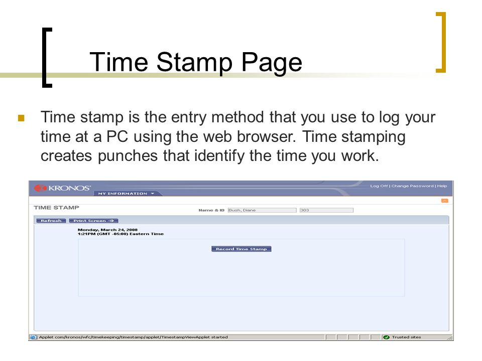 Time Stamp Page