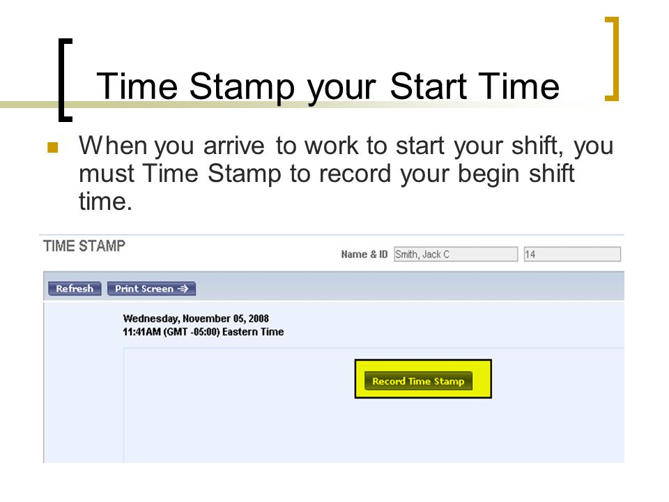 Time Stamp your Start Time