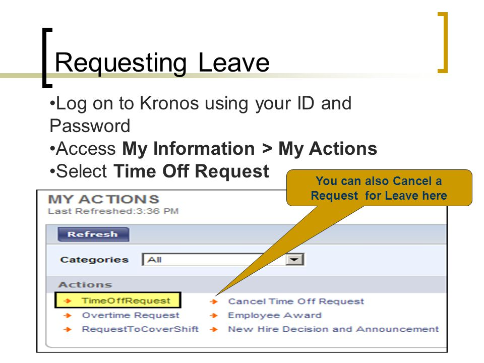 You can also Cancel a Request for Leave here