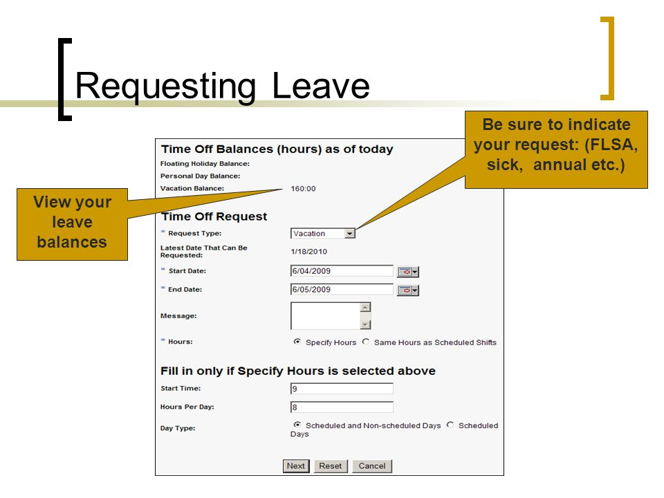 Requesting Leave Be sure to indicate your request: (FLSA, sick, annual etc.) View your leave balances.