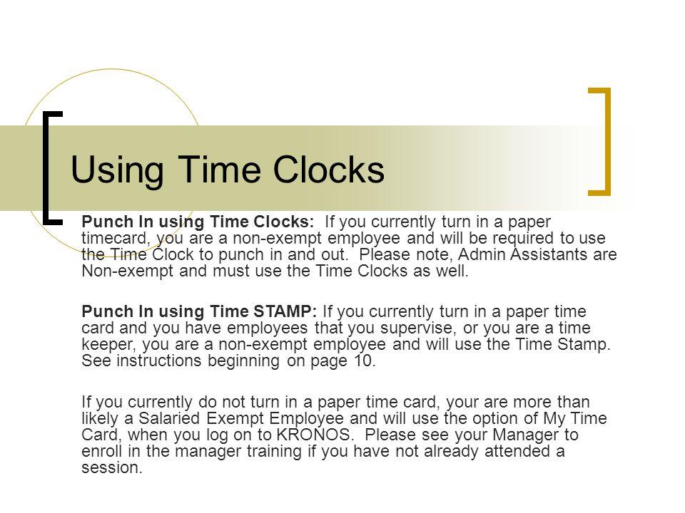 Using Time Clocks