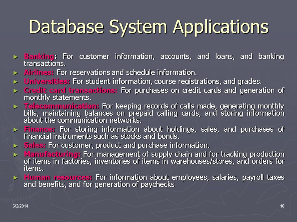 Database System Applications