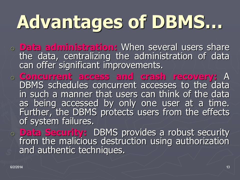 Advantages of DBMS…