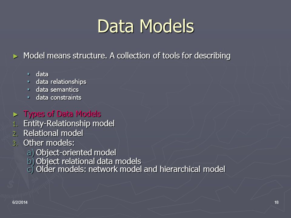 Data Models Model means structure. A collection of tools for describing. data. data relationships.