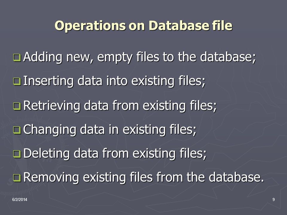 Operations on Database file