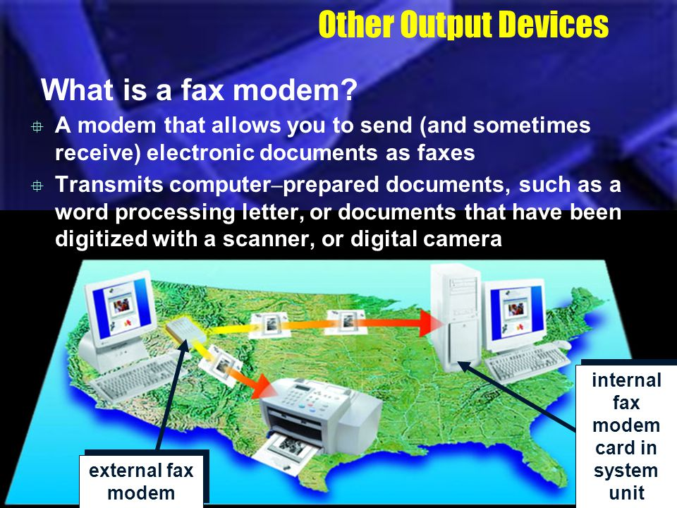 internal fax modem card in system unit