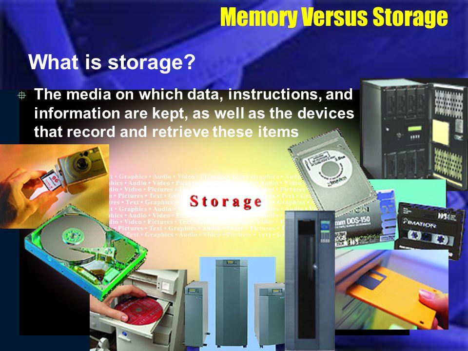 Memory Versus Storage What is storage