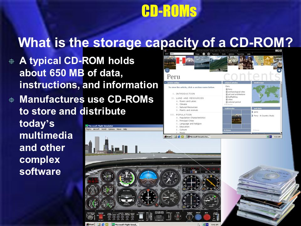 CD-ROMs What is the storage capacity of a CD-ROM