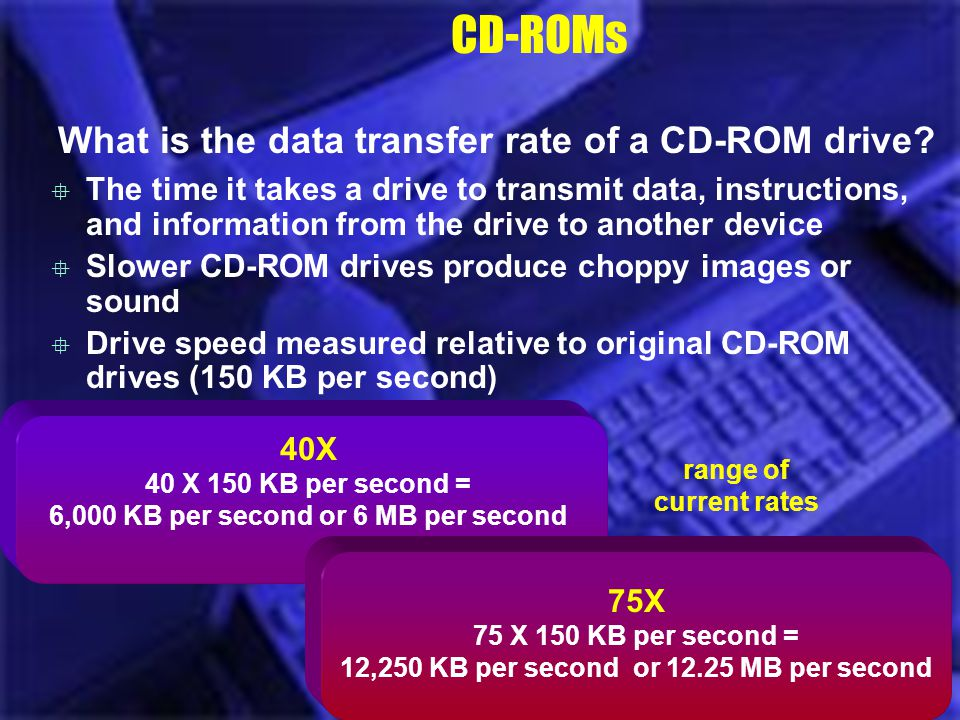 40X 40 X 150 KB per second = 6,000 KB per second or 6 MB per second