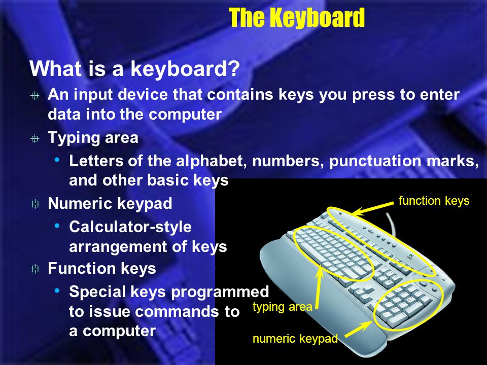 The Keyboard What is a keyboard