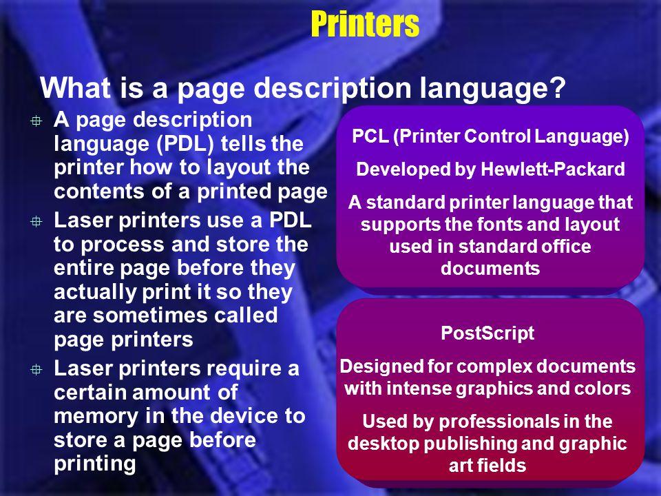 Printers What is a page description language