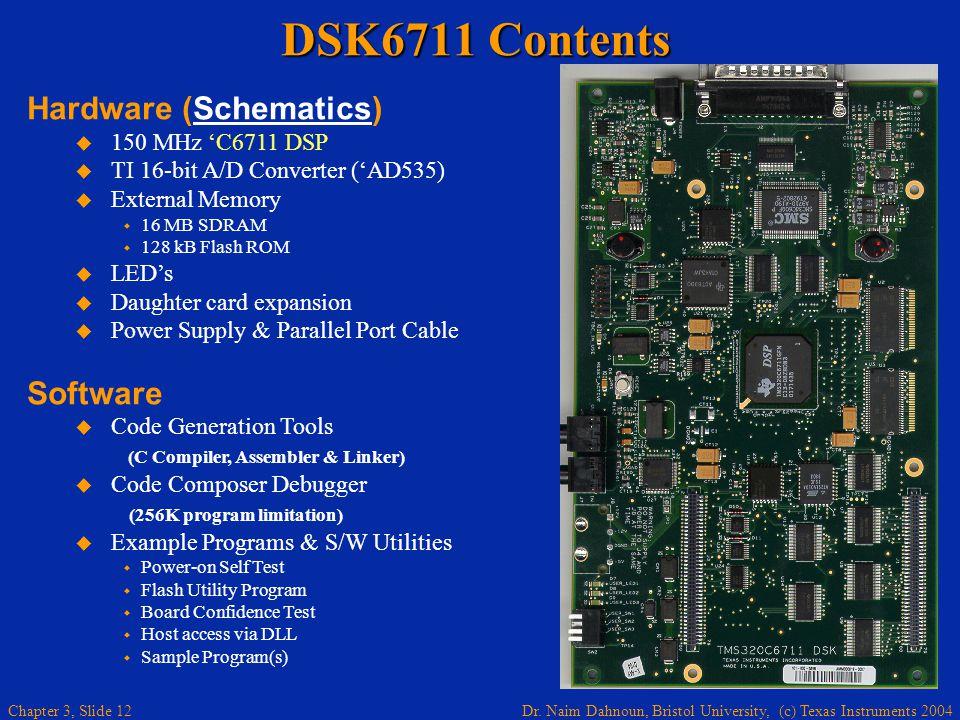 DSK6711 Contents Hardware (Schematics) Software 150 MHz 'C6711 DSP