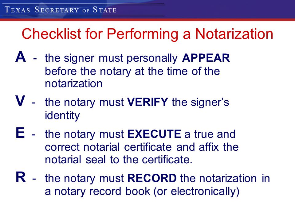 Checklist for Performing a Notarization