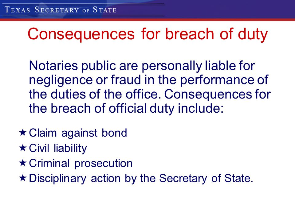 Consequences for breach of duty