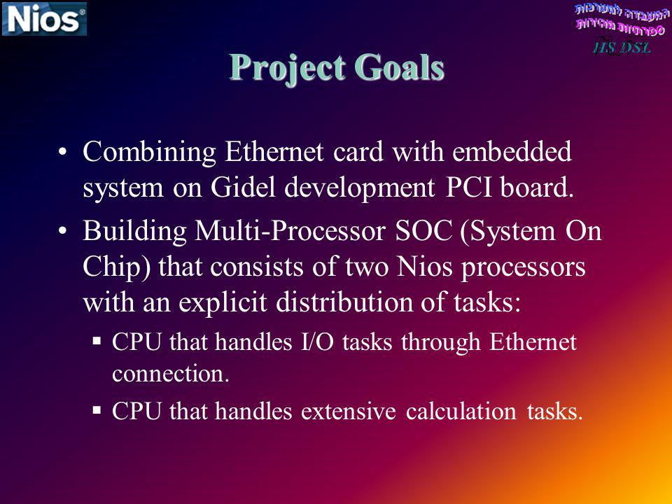Project Goals Combining Ethernet card with embedded system on Gidel development PCI board.