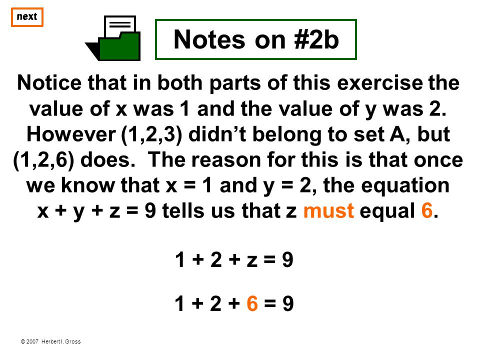 x + y + z = 9 tells us that z must equal 6.