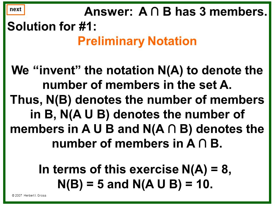In terms of this exercise N(A) = 8,