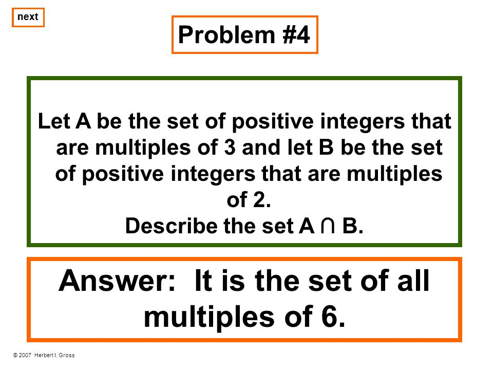 Answer: It is the set of all multiples of 6.