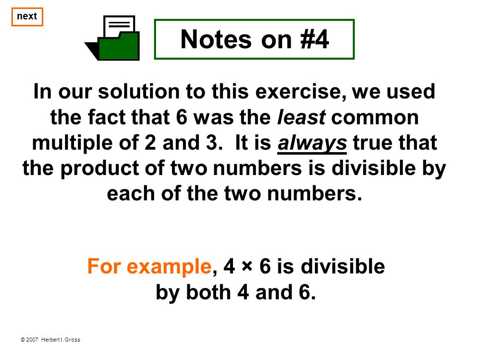 For example, 4 × 6 is divisible