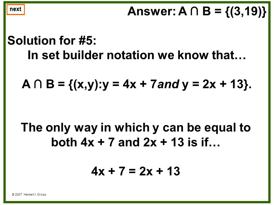 In set builder notation we know that…