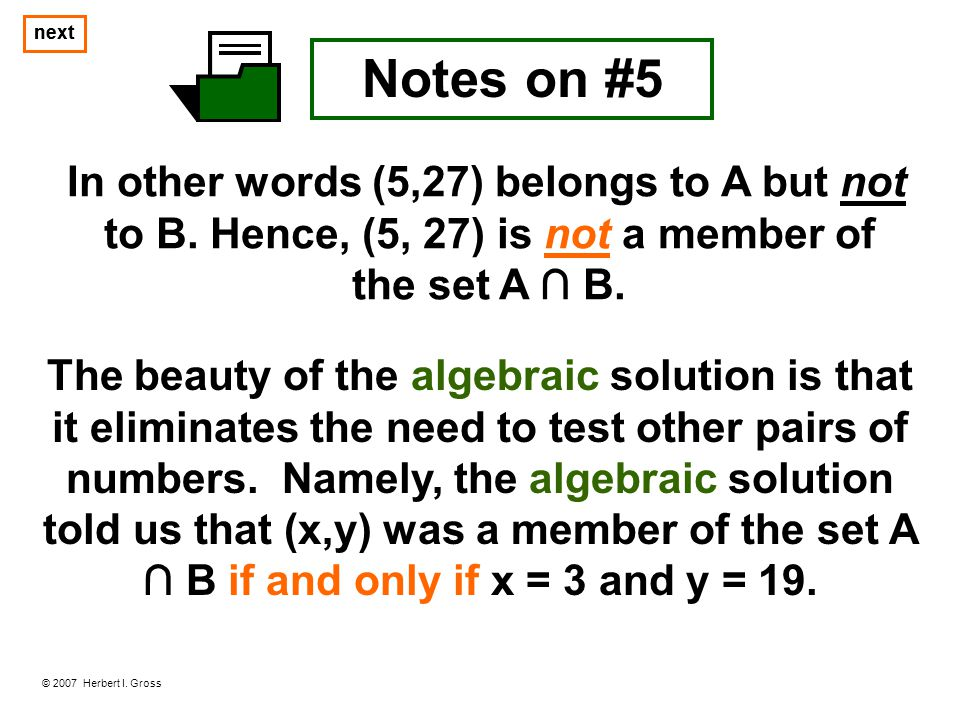 to B. Hence, (5, 27) is not a member of the set A ∩ B.