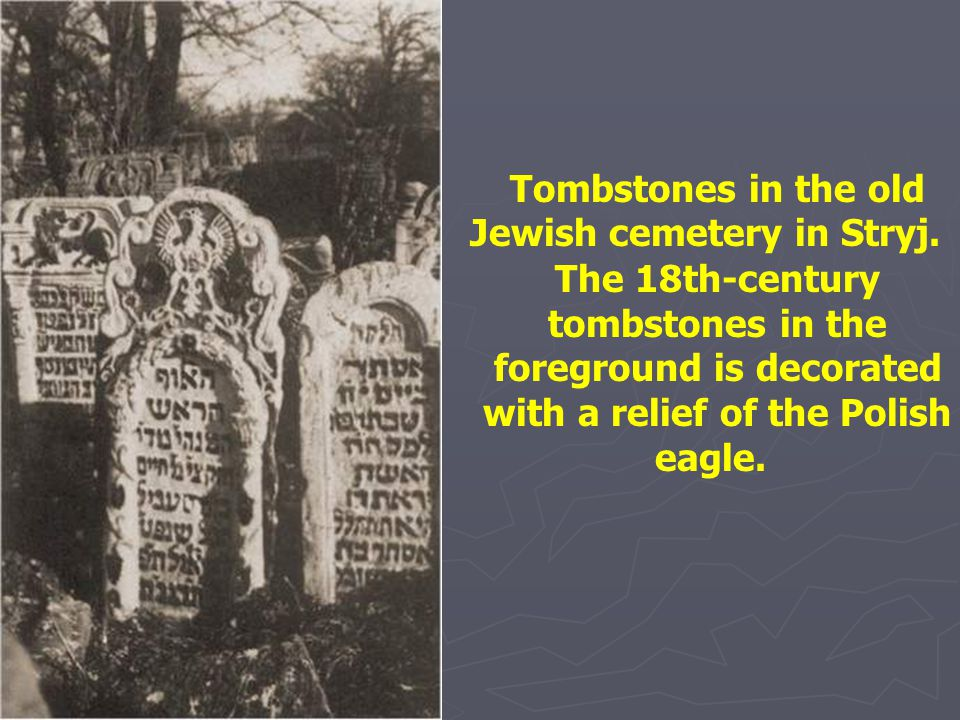 Tombstones in the old Jewish cemetery in Stryj.