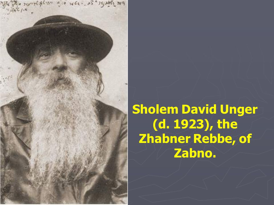 Sholem David Unger (d. 1923), the Zhabner Rebbe, of Zabno.