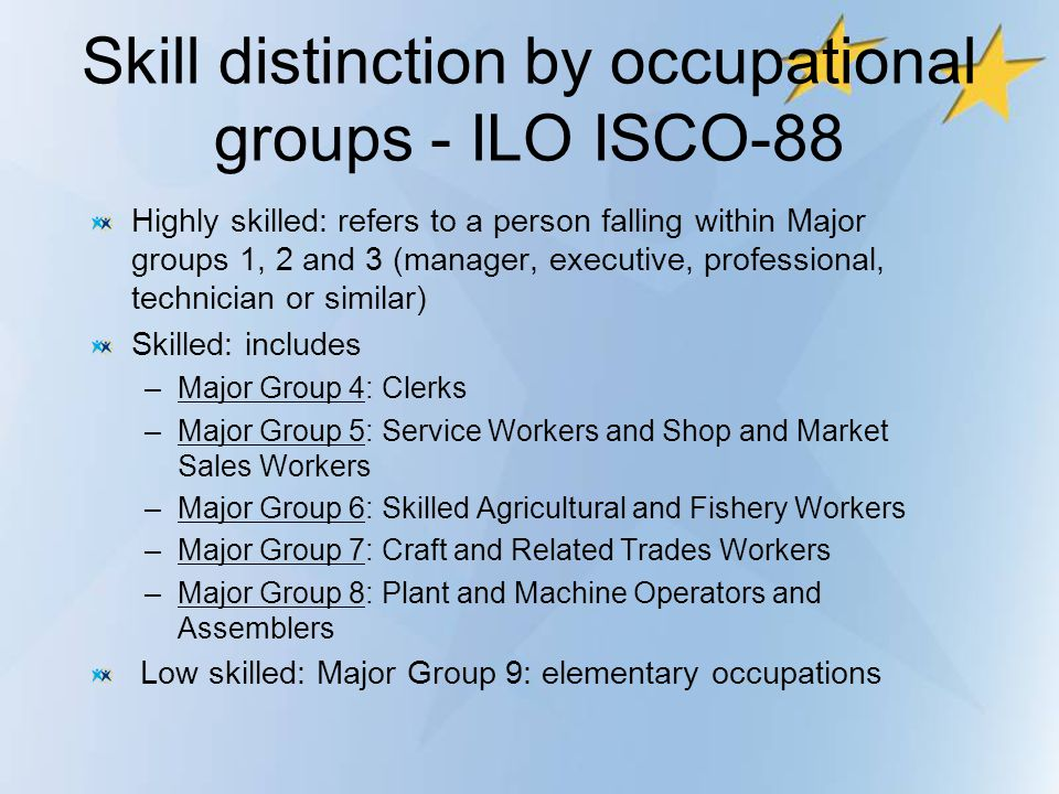 Skill distinction by occupational groups - ILO ISCO-88