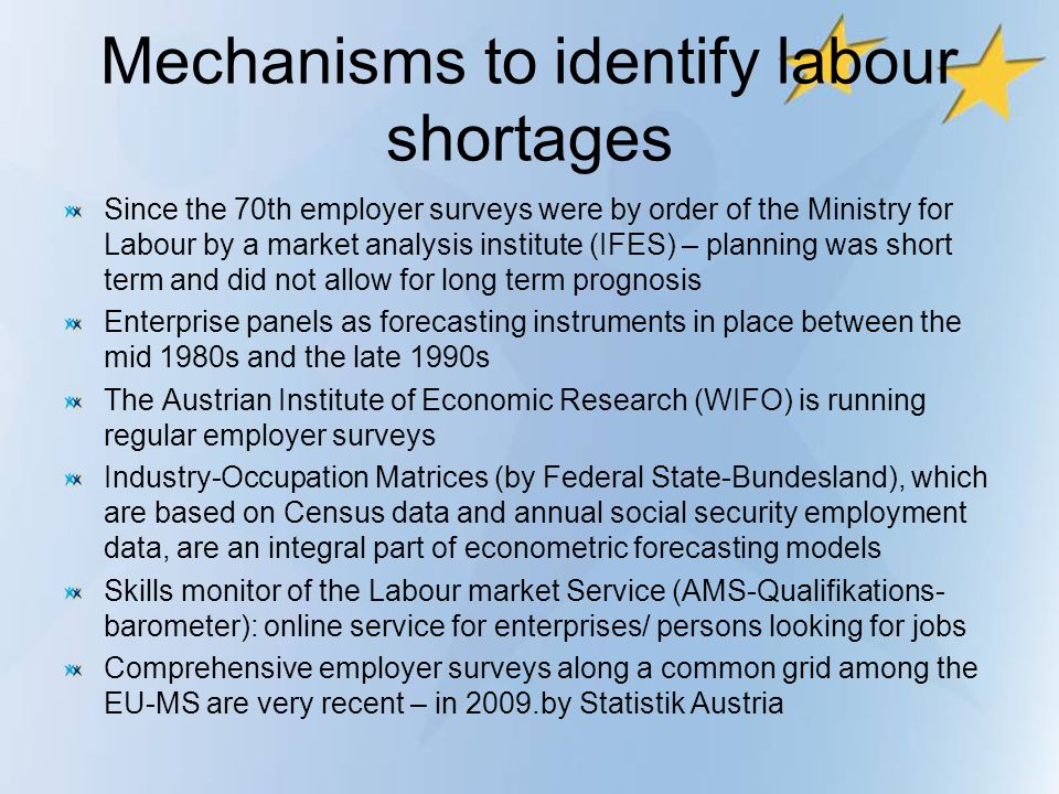 Mechanisms to identify labour shortages