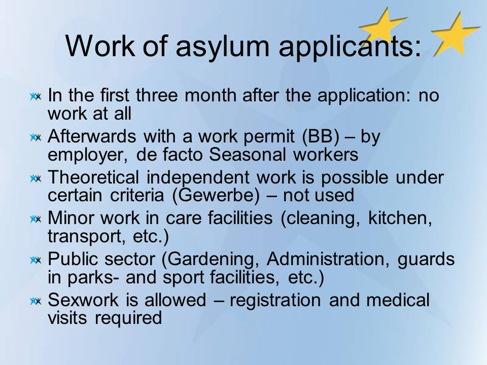 Work of asylum applicants: