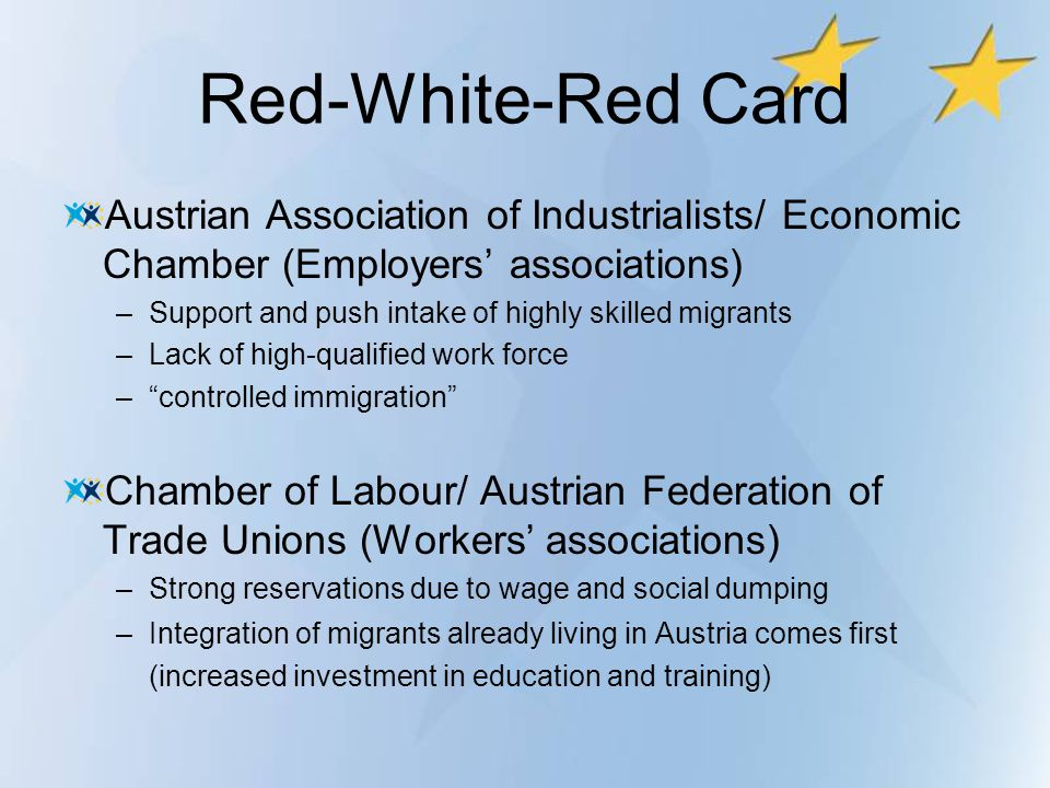 Red-White-Red Card Austrian Association of Industrialists/ Economic Chamber (Employers' associations)