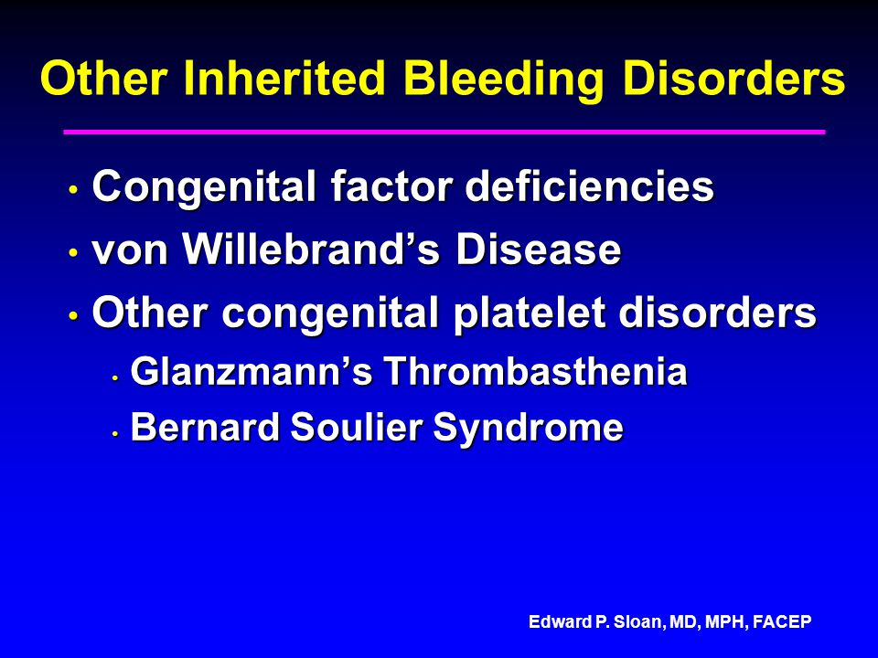 Other Inherited Bleeding Disorders